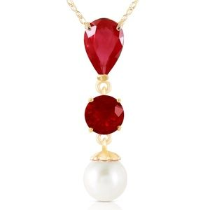 14K. SOLID GOLD NECKLACE WITH RUBIES & PEARL